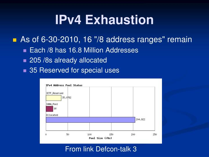 ipv4 exhaustion Ipv4 address exhaustion ipv4 address exhaustion is the depletion of the pool of unallocated ipv4 addresses at the time of writing, all rirs except afrinic have declared the exhaustion of ip address pool within their registries.