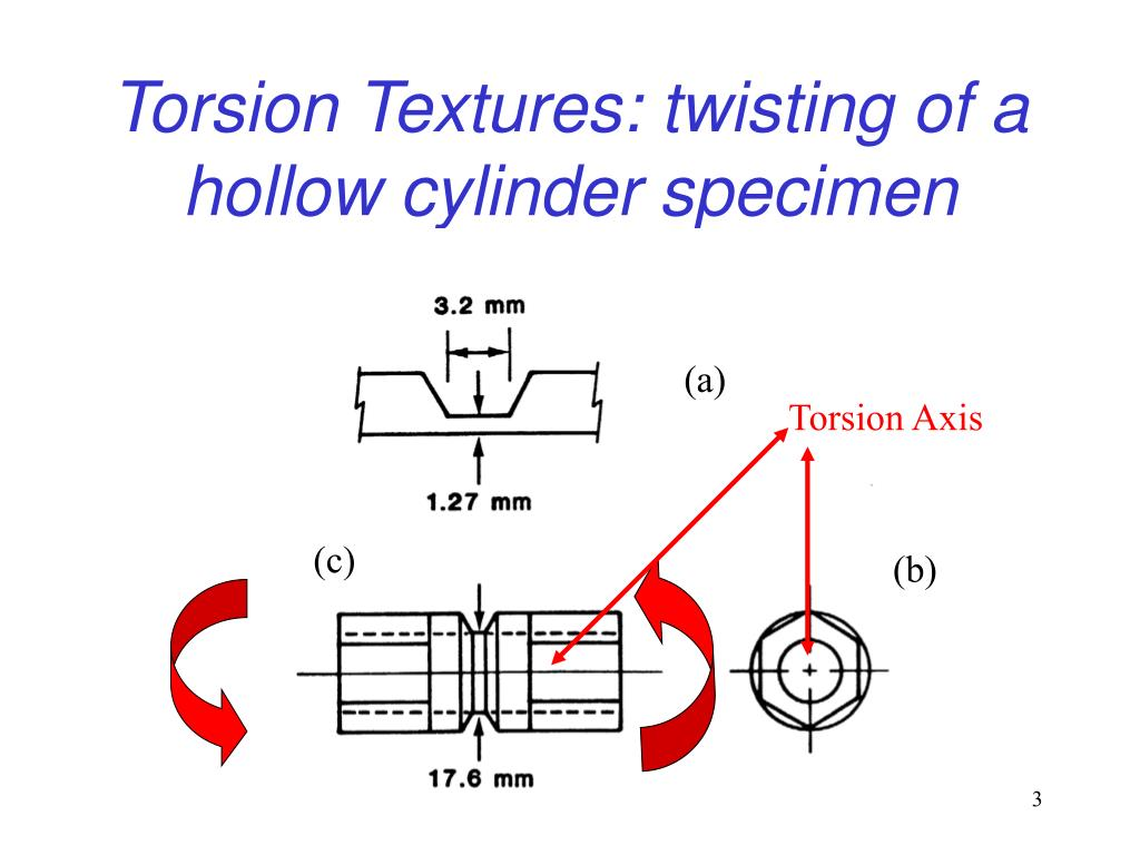Torsion Textures: twisting of a hollow cylinder specimen