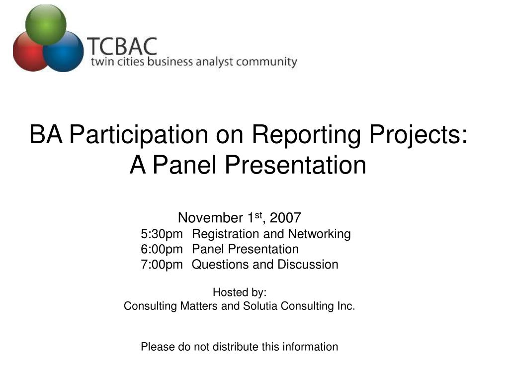 ba participation on reporting projects a panel presentation l.