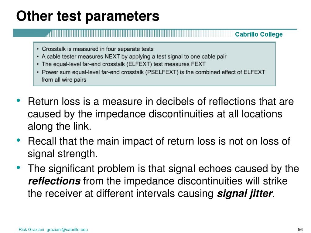 Other test parameters