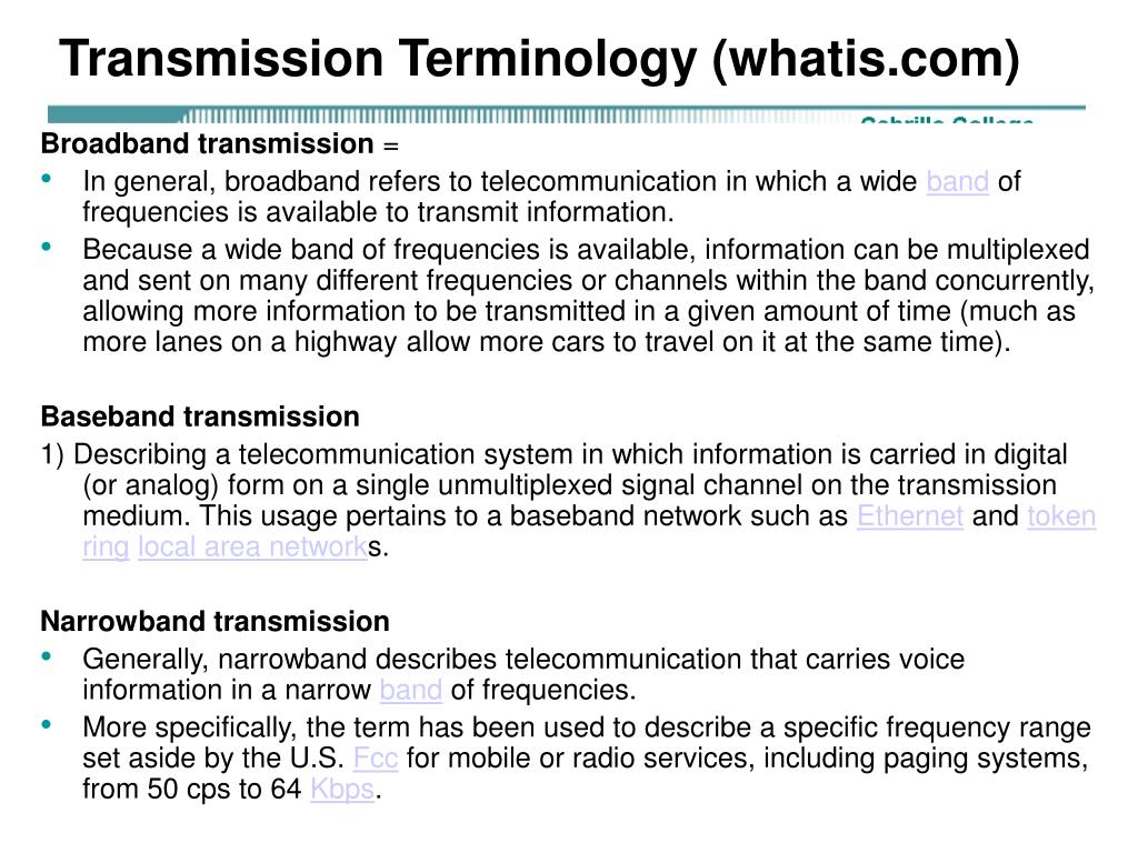Transmission Terminology (whatis.com)