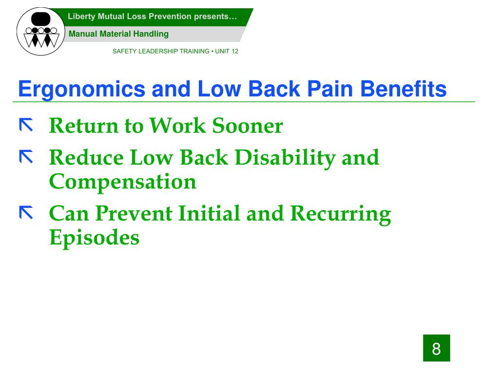 Ergonomics and Low Back Pain Benefits