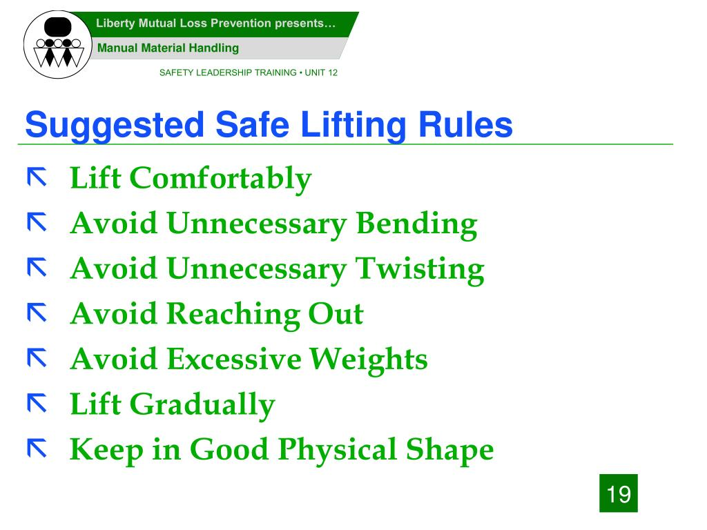 Suggested Safe Lifting Rules