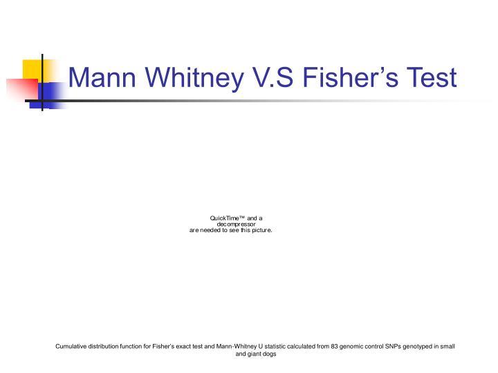 Mann Whitney V.S Fisher's Test