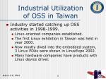 industrial utilization of oss in taiwan