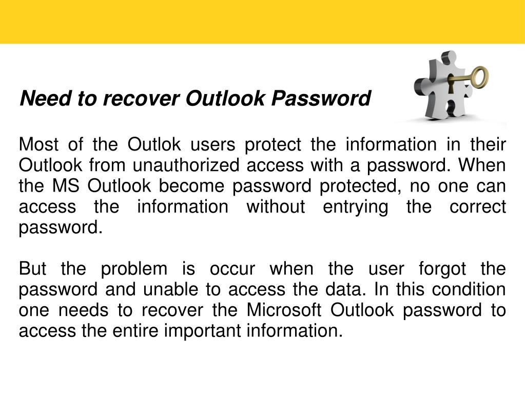 Need to recover Outlook Password