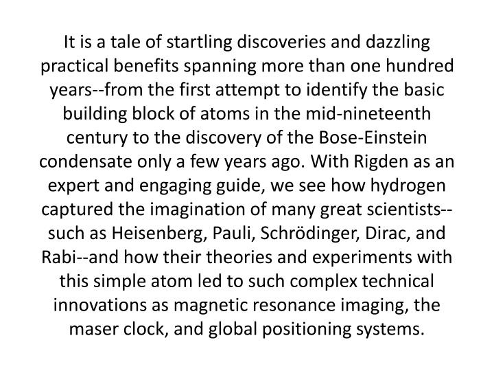 It is a tale of startling discoveries and dazzling practical benefits spanning more than one hundred...