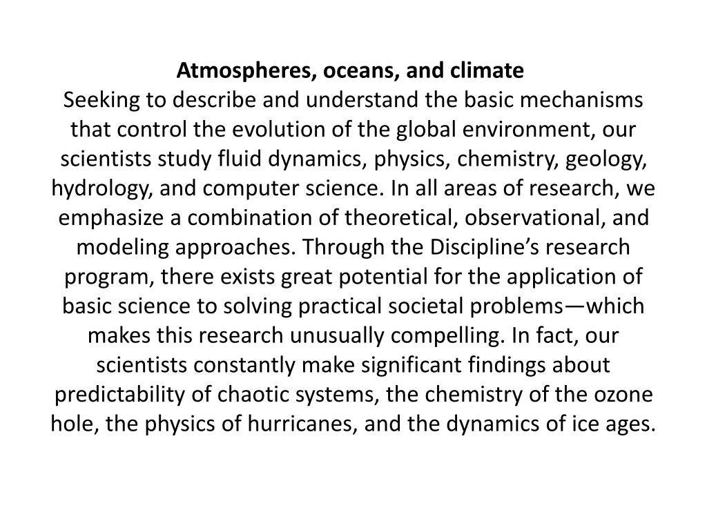 Atmospheres, oceans, and climate