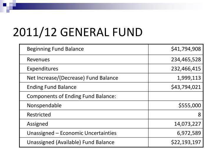 2011 12 general fund