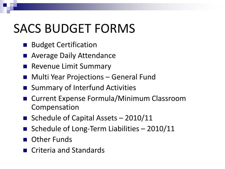 SACS BUDGET FORMS
