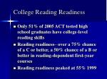 college reading readiness