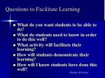 questions to facilitate learning