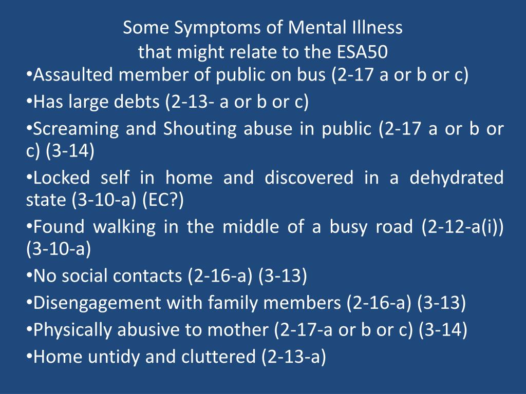 some symptoms of mental illness that might relate to the esa50 l.