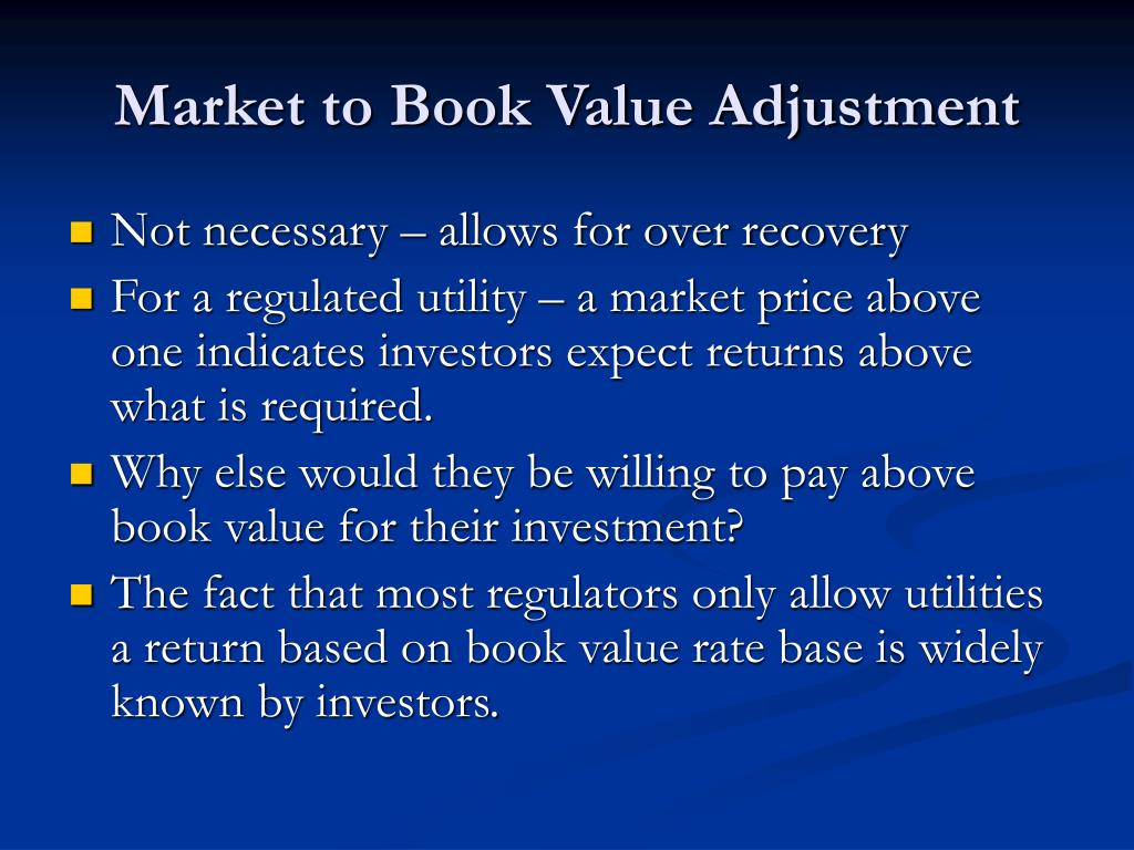Market to Book Value Adjustment
