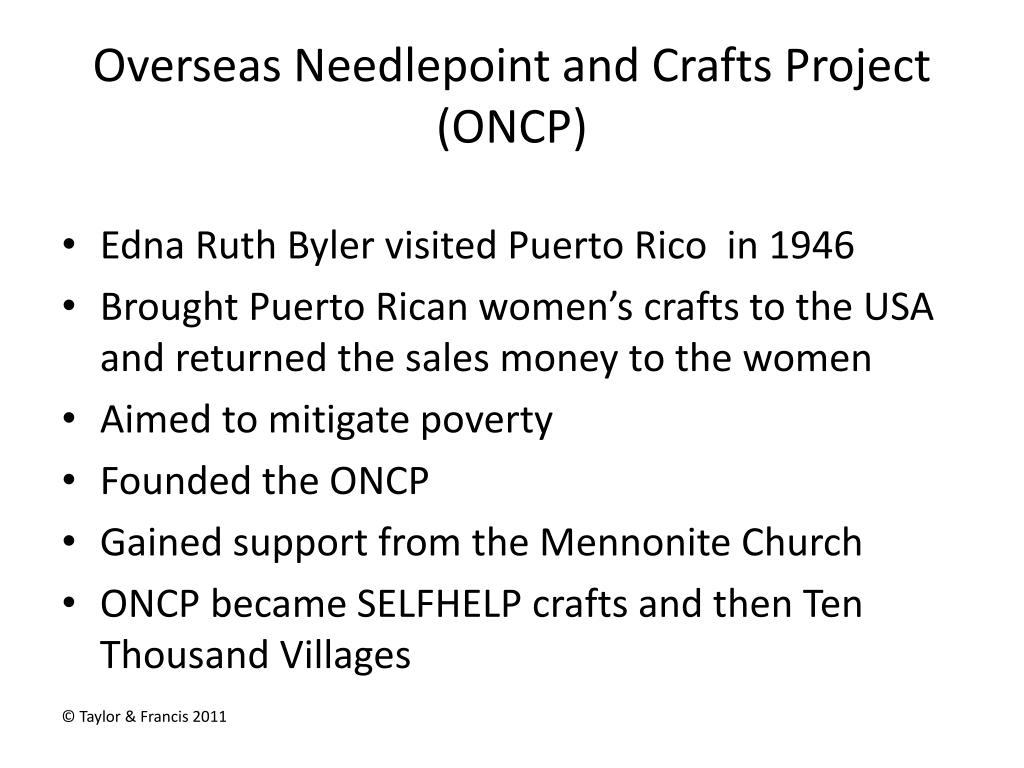 Overseas Needlepoint and Crafts Project (ONCP)