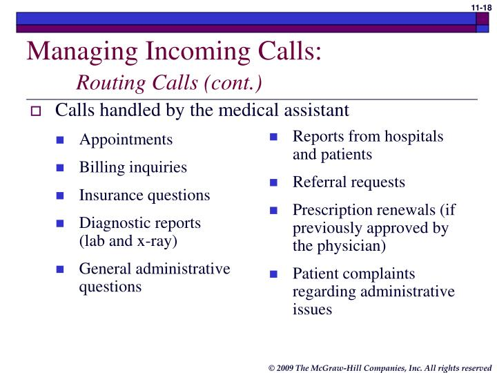 Calls handled by the medical assistant