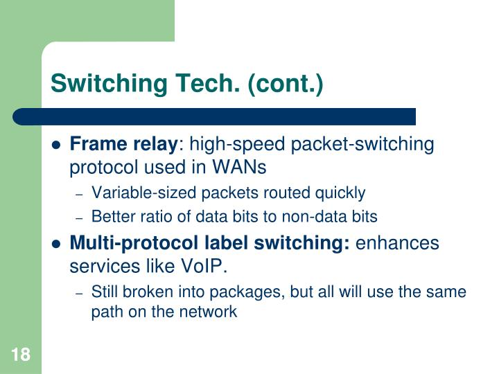 Switching Tech. (cont.)