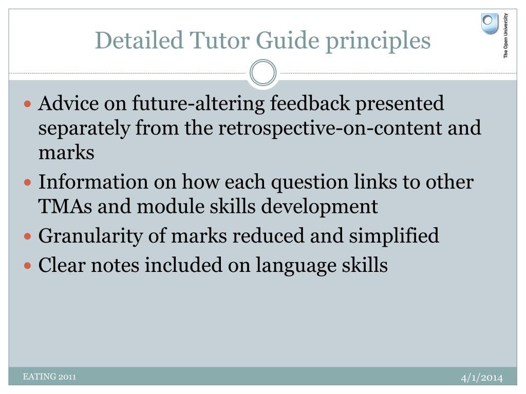 Detailed Tutor Guide principles