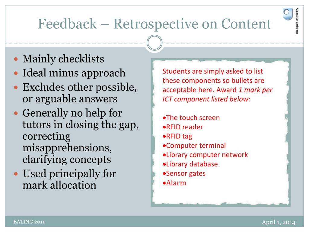 Feedback – Retrospective on Content