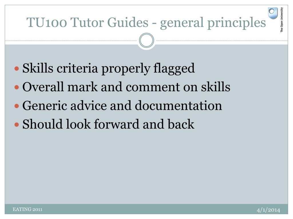TU100 Tutor Guides - general principles