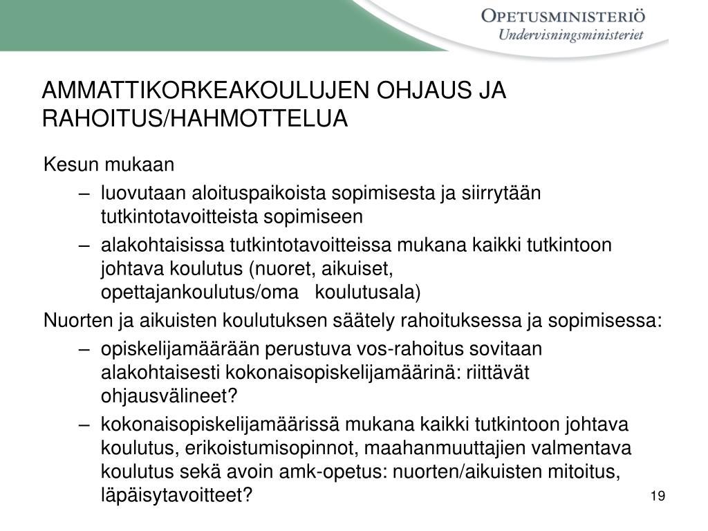 AMMATTIKORKEAKOULUJEN OHJAUS JA RAHOITUS/HAHMOTTELUA