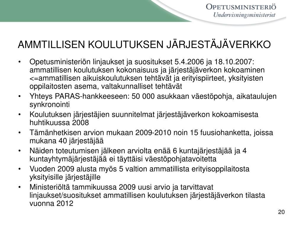 AMMTILLISEN KOULUTUKSEN JÄRJESTÄJÄVERKKO