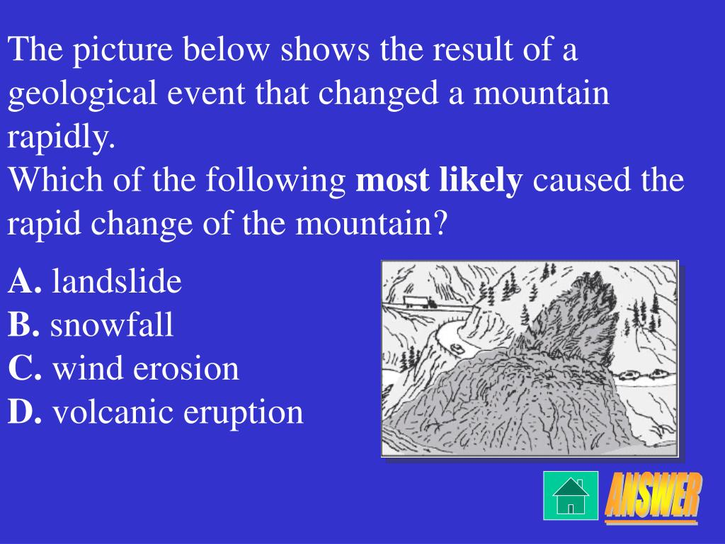 The picture below shows the result of a geological event that changed a mountain rapidly.