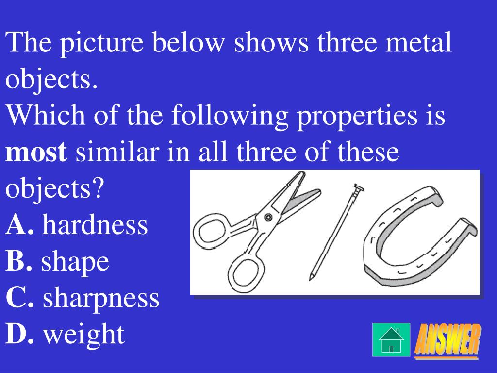 The picture below shows three metal objects.