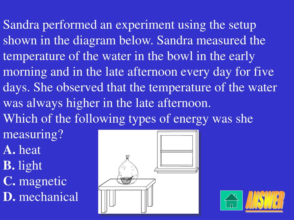 Sandra performed an experiment using the setup shown in the diagram below. Sandra measured the temperature of the water in the bowl in the early morning and in the late afternoon every day for five days. She observed that the temperature of the water was always higher in the late afternoon.