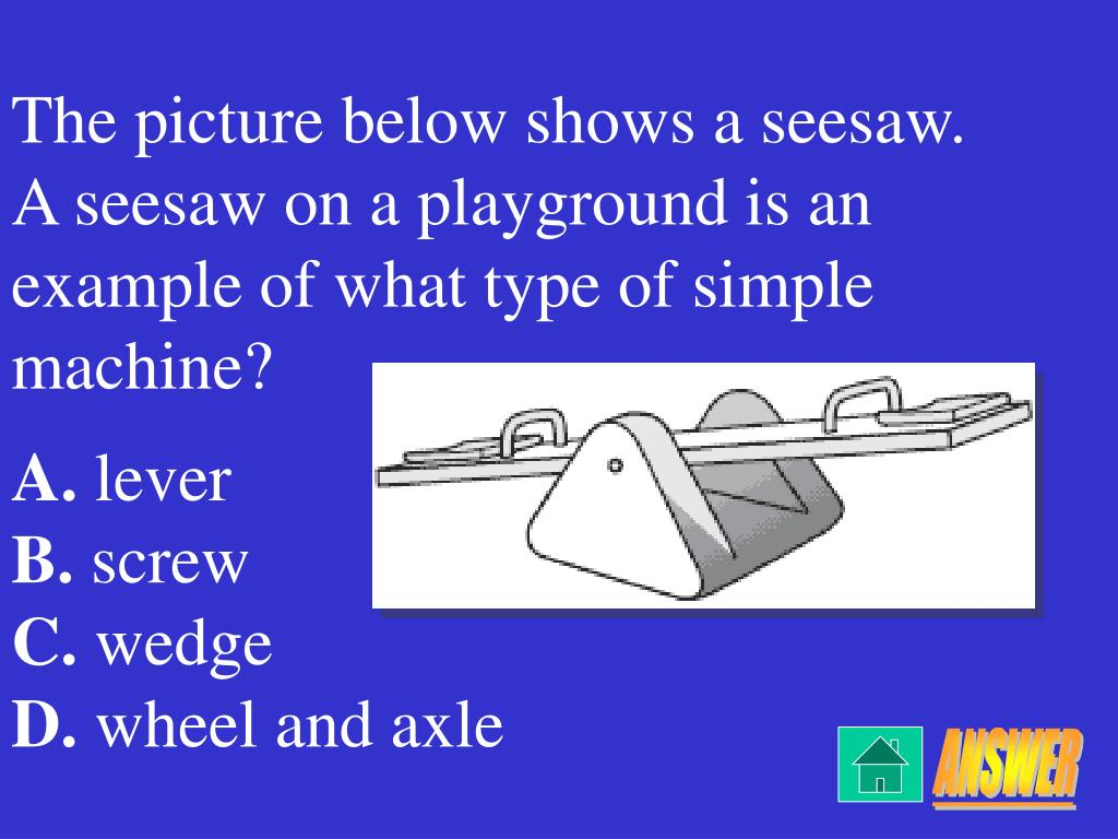 The picture below shows a seesaw.