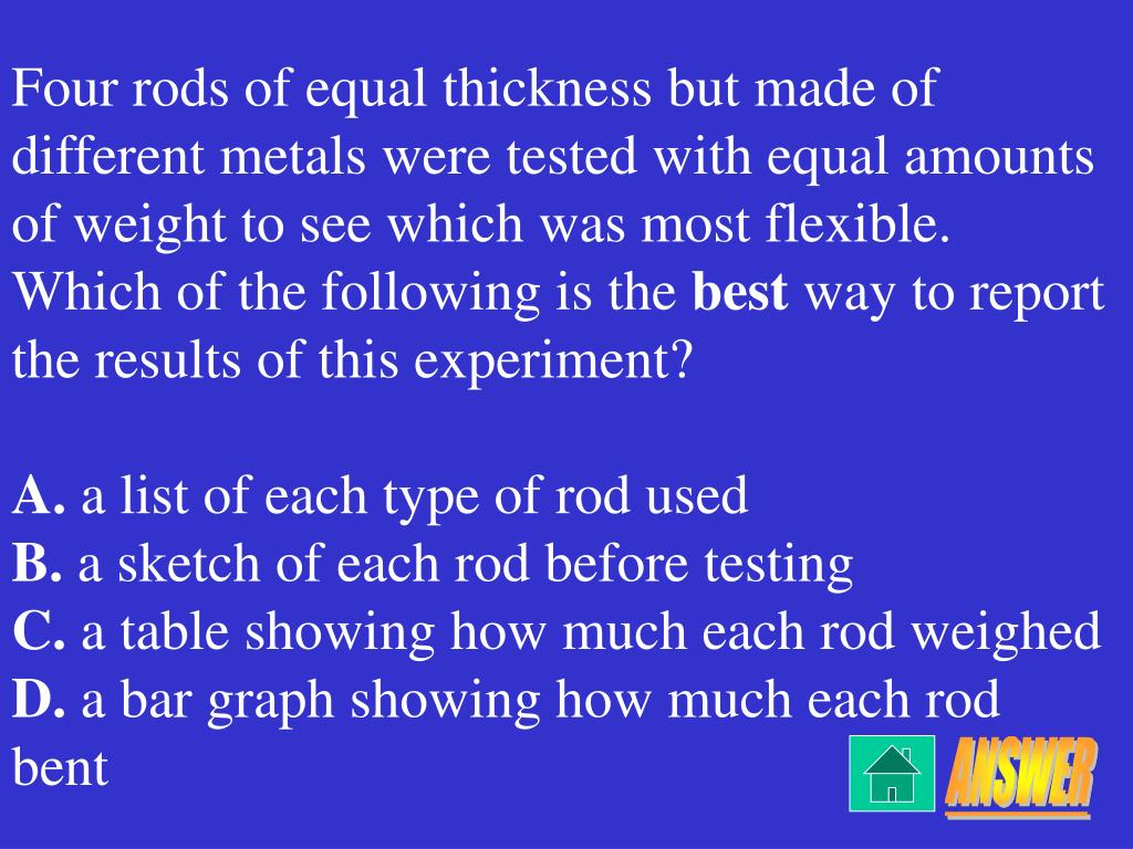 Four rods of equal thickness but made of different metals were tested with equal amounts of weight to see which was most flexible.