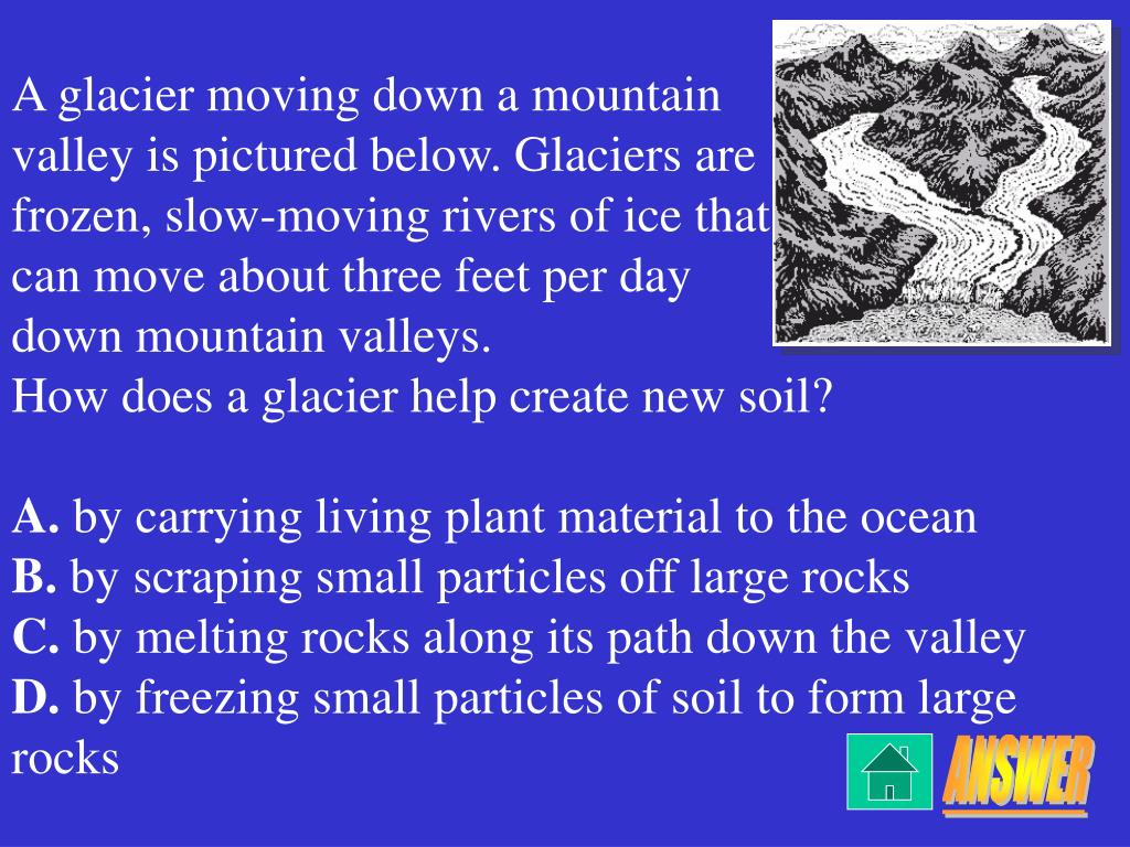 A glacier moving down a mountain