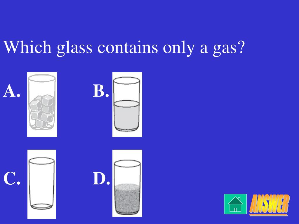 Which glass contains only a gas?