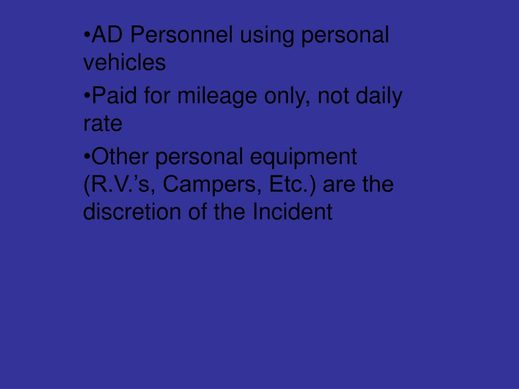 AD Personnel using personal vehicles