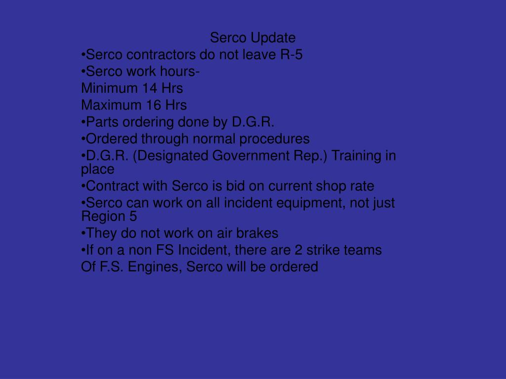 Serco Update