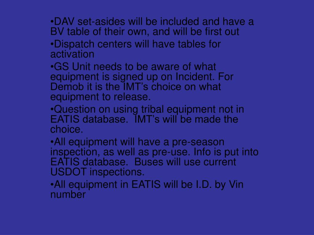 DAV set-asides will be included and have a BV table of their own, and will be first out