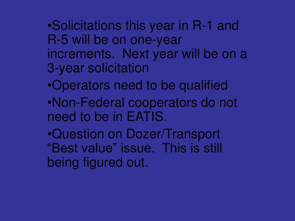 Solicitations this year in R-1 and R-5 will be on one-year increments.  Next year will be on a 3-year solicitation