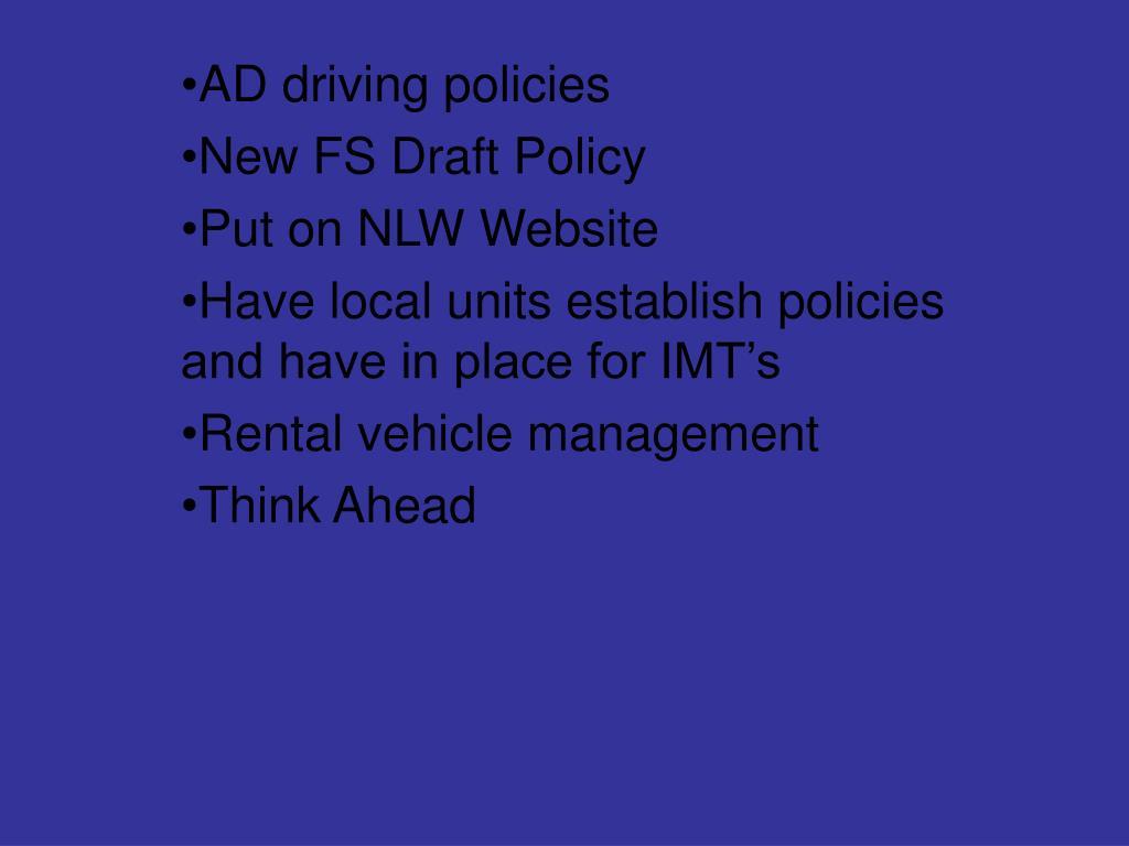 AD driving policies