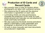 production of id cards and record cards