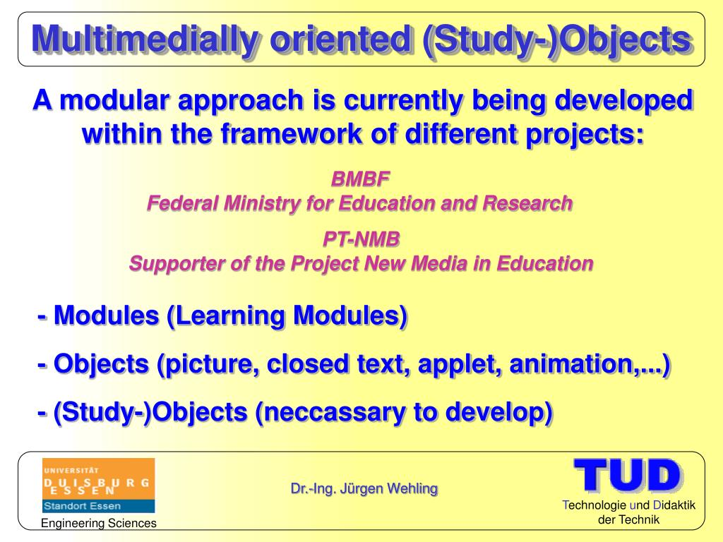 Multimedially oriented (Study-)Objects