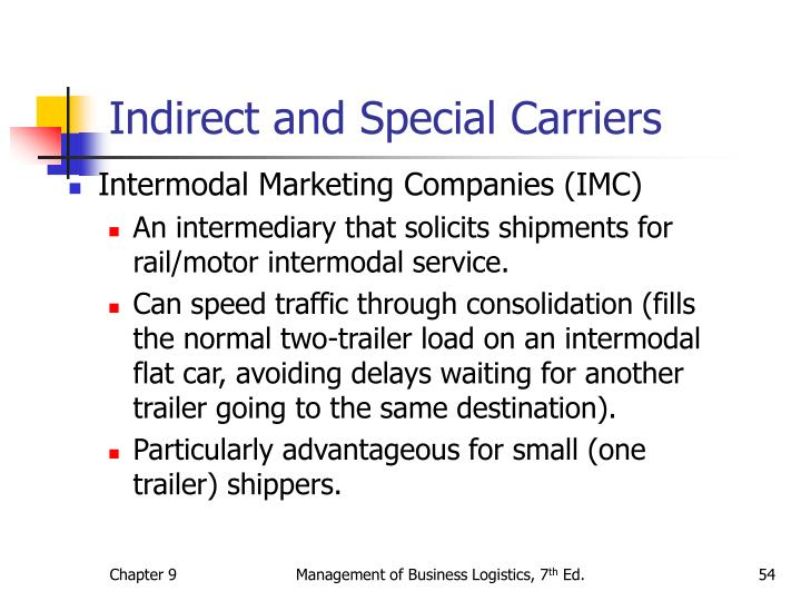Indirect and Special Carriers