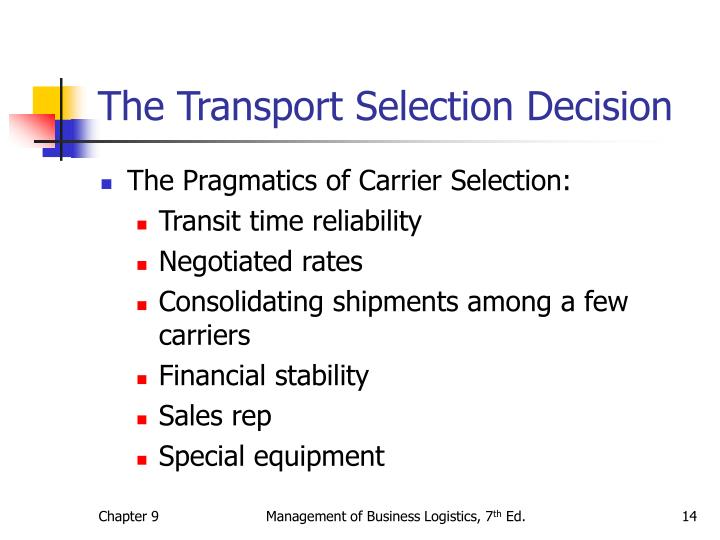 The Transport Selection Decision