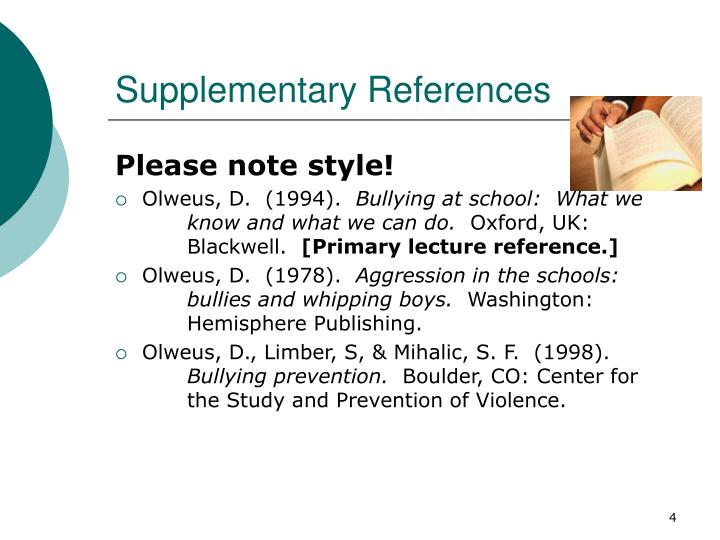 Supplementary references