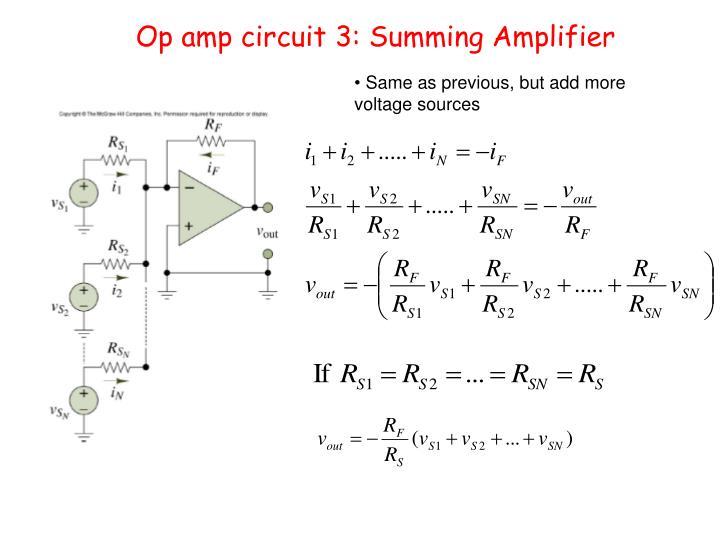 Op amp circuit 3: Summing Amplifier