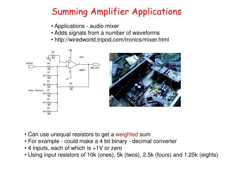 Summing Amplifier Applications