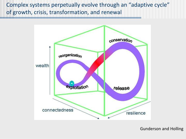 """Complex systems perpetually evolve through an """"adaptive cycle"""" of growth, crisis, transformation, and renewal"""