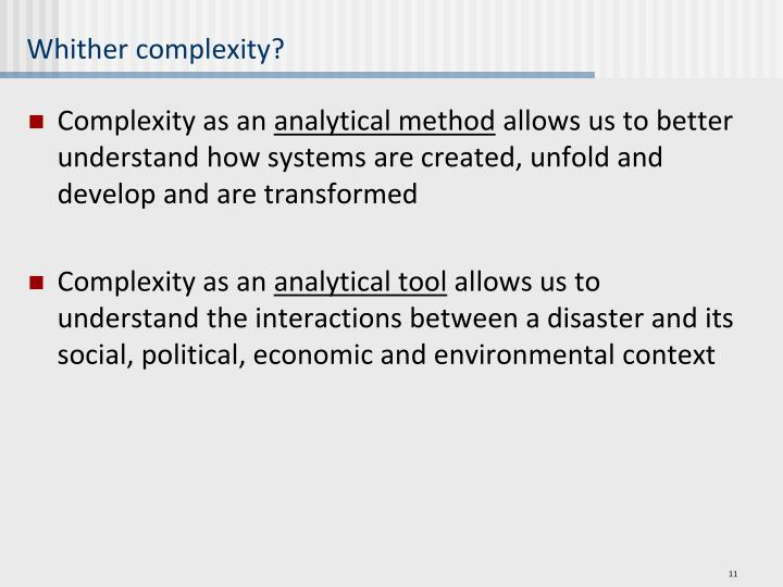 Whither complexity?