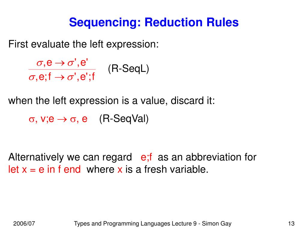 Sequencing: Reduction Rules