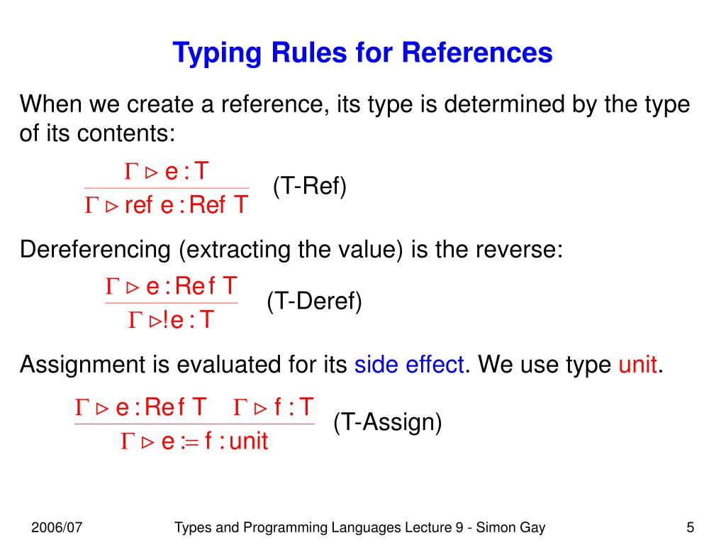 Typing Rules for References