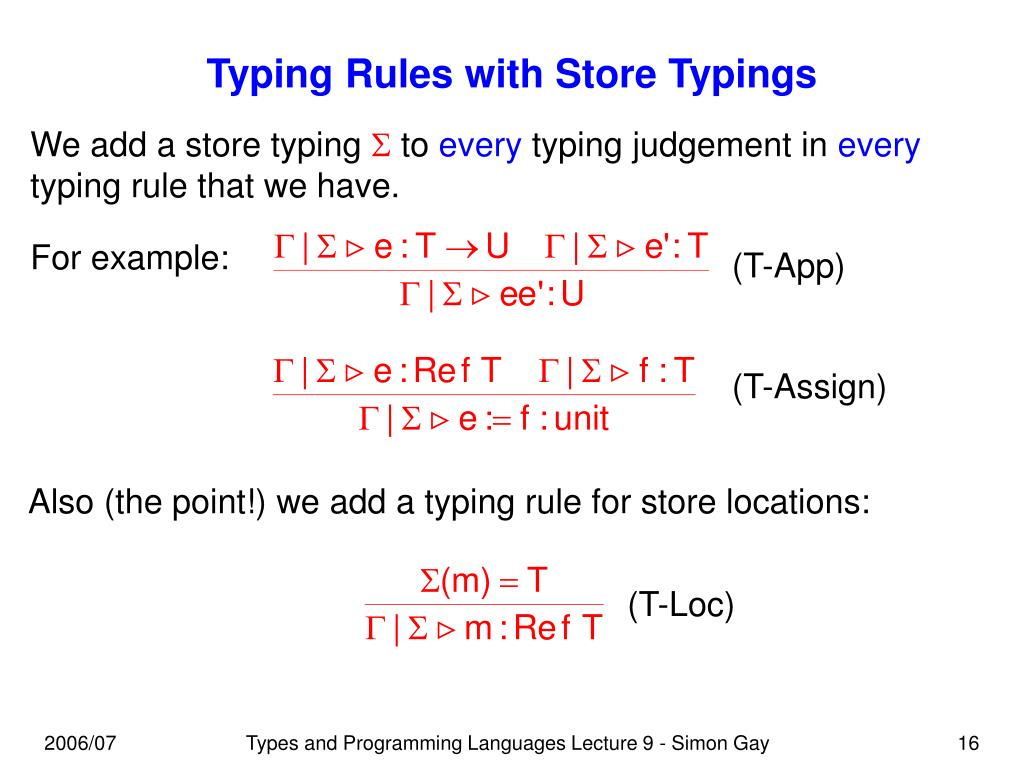 Typing Rules with Store Typings